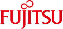 Fujitsu Logo - Red serif text with red swirl on top